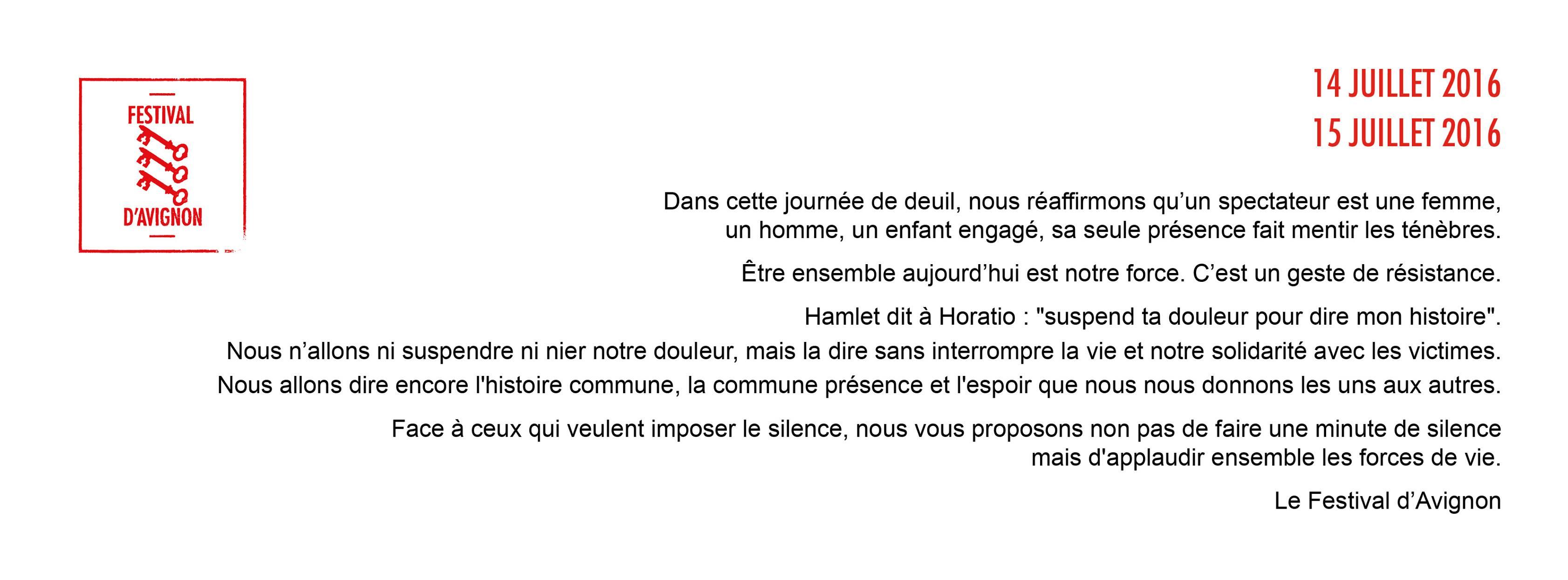comuniqué festival avignon suite attentat de Nice