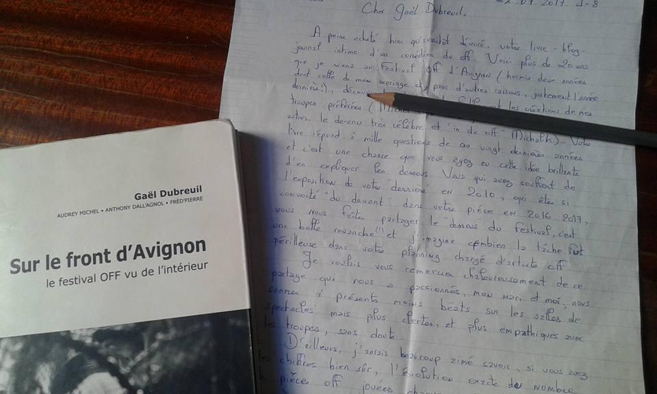 lettre remerciement sur le front avignon